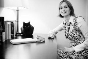 Nicole Miller - Author photo with writing cat